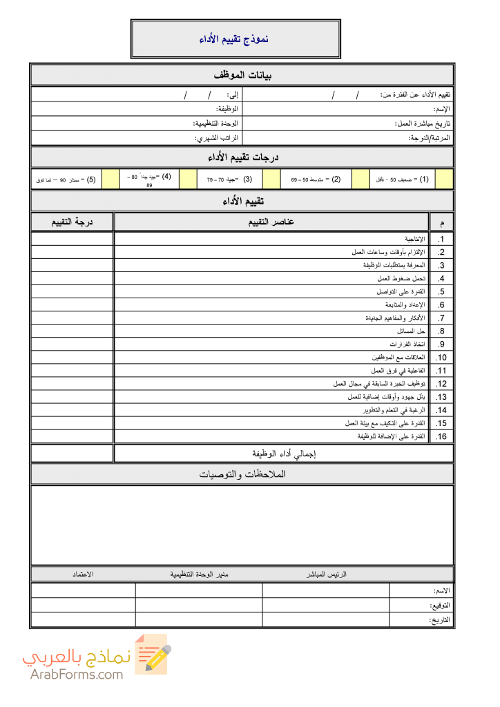 نموذج تقييم الأداء الوظيفي للتحميل مجانا نماذج بالعربي